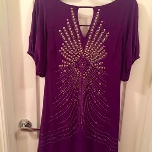 PURPLE MIDI DRESS WITH CUT OUT ARMS